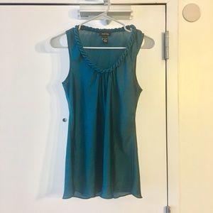 Teal dressy tank w/braided collar (M)